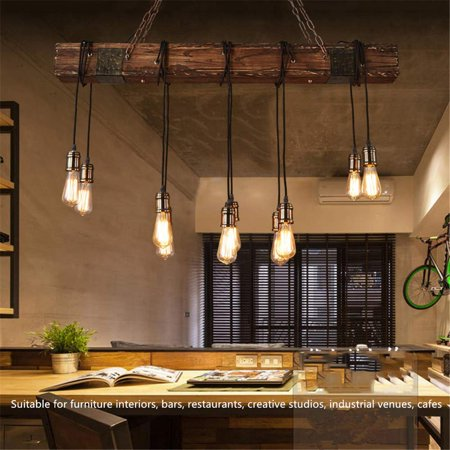 Brilliant 46 110V Rustic Farmhouse Furniture Wood Beam Chandelier Pendant Lighting Fixture Kitchen Dining Room Bar Hotel Industrial Decor 10 Bulbs Not Interior Design Ideas Philsoteloinfo