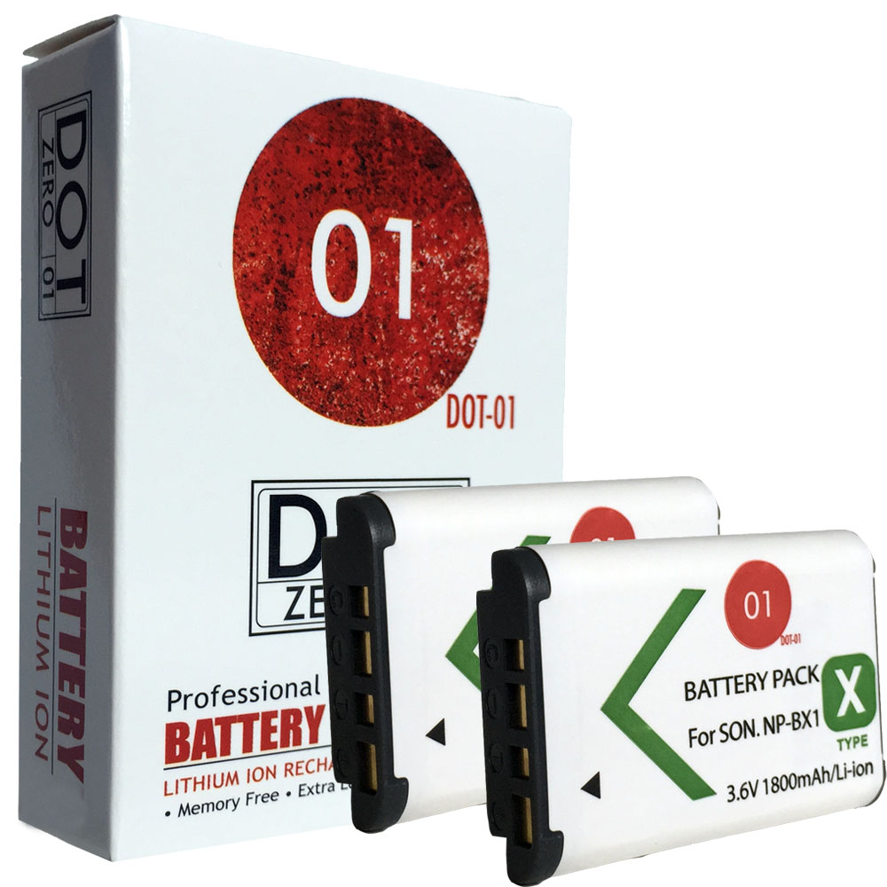 2x DOT-01 Brand 1800 mAh Replacement Sony M8 Batteries for Sony HDR-PJ440 Camcorder and Sony M8