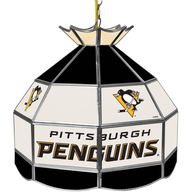 "NHL 16"" Handmade Tiffany Style Lamp, Pittsburgh Penguins"
