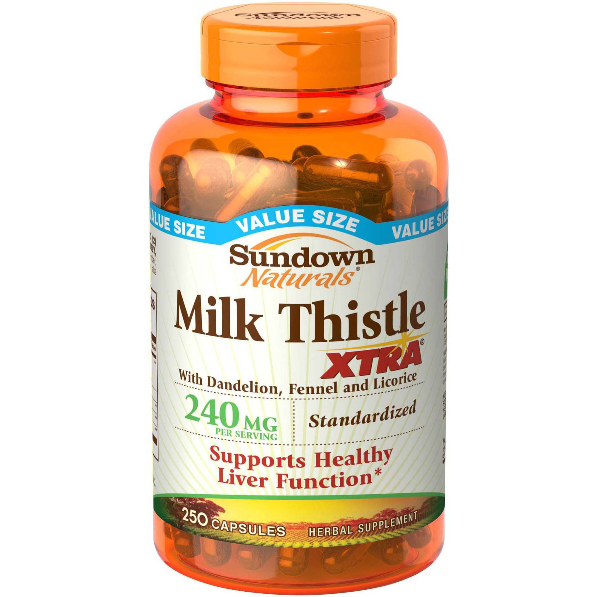 Sundown Naturals Milk Thistle XTRA Herbal Supplement Capsules, 240mg, 250 count