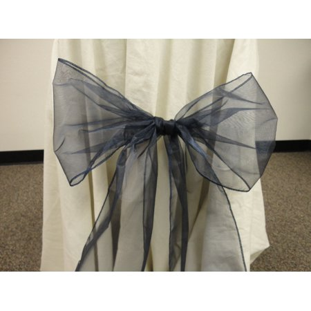 Wedding Anniversary Colors (Organza Chair Bow Sashes Wedding Anniversary Party Decoration. NAVY BLUE color, Lot of 12)