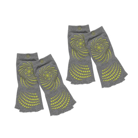 Gaiam Toeless Grippy Yoga Socks - 2 Pack - Grey/Yellow