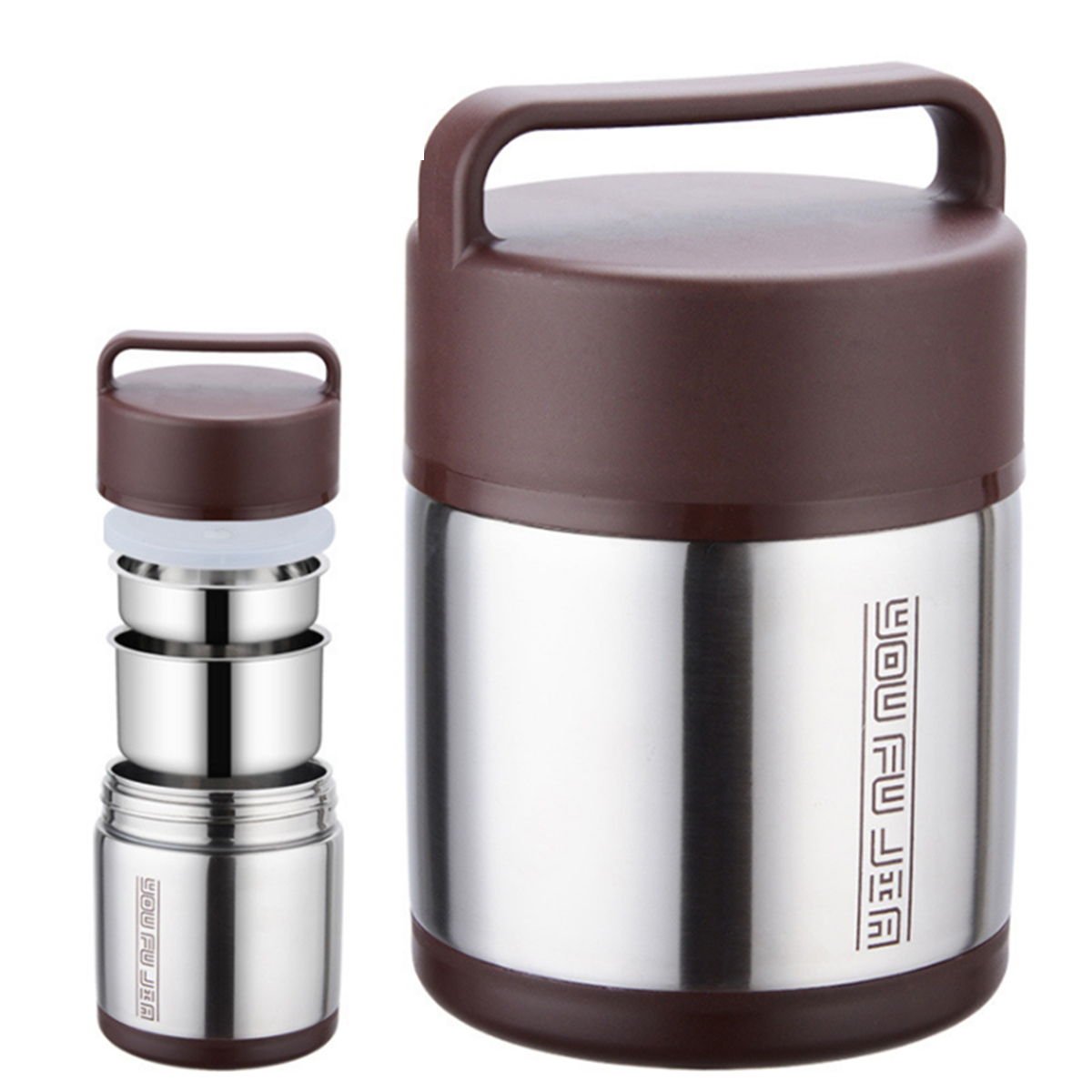 Stainless Steel 3 Tier Vacuum Insulated Lunch Box Jar Hot Thermos Food Container