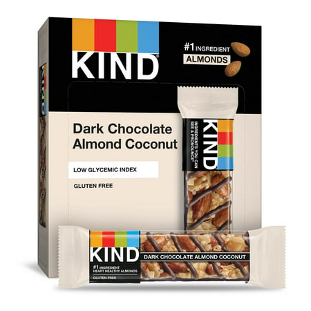 KIND Bars, Dark Chocolate Almond & Coconut, Gluten Free, 1.4oz, 12 Count (Bar Dark Chocolate Mocha Almond)