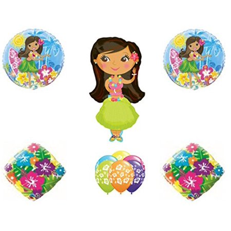 Hula Girl Birthday (HULA GIRL LUAU Hibiscus TROPICAL BEACH Happy Birthday PARTY Balloons Decorations)