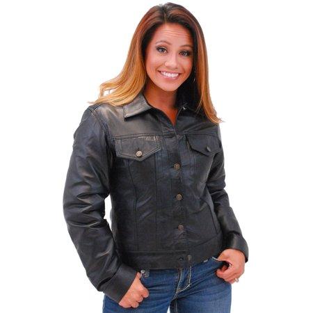 Lambskin Patched Leather - Women's Lightweight Soft Lambskin Leather Jean Jacket w/Zip Out #L71BTZK - 2X