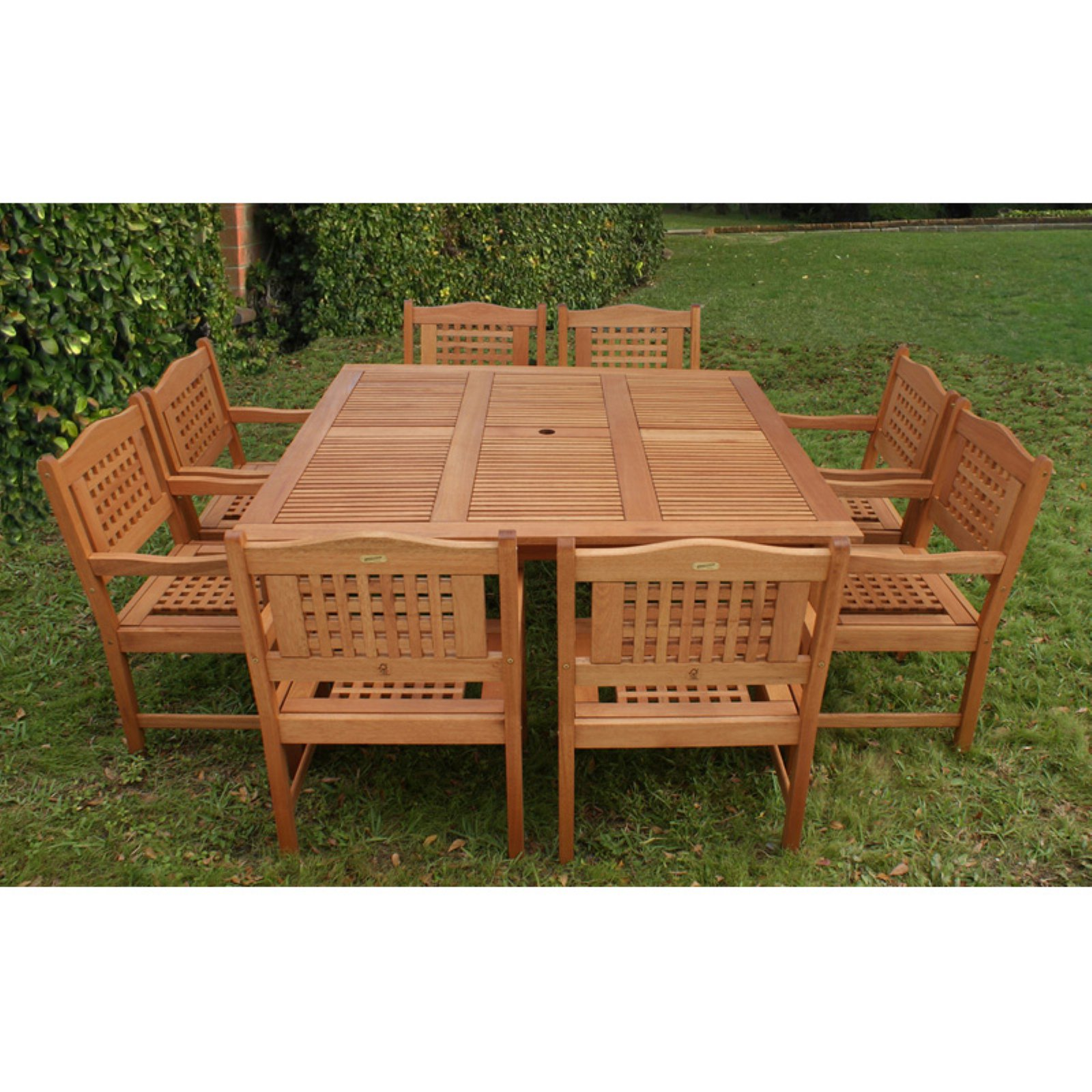 Milano Eucalyptus Square Porto 9-Piece Patio Dining Set