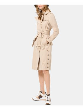 MICHAEL KORS Womens Beige Belted Trench Coat  Size: L