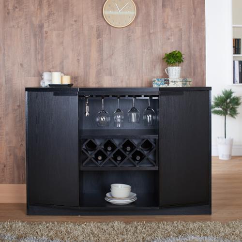 Furniture of America Chapline Contemporary Wine Bar Buffet by FOA Black Wood Finish