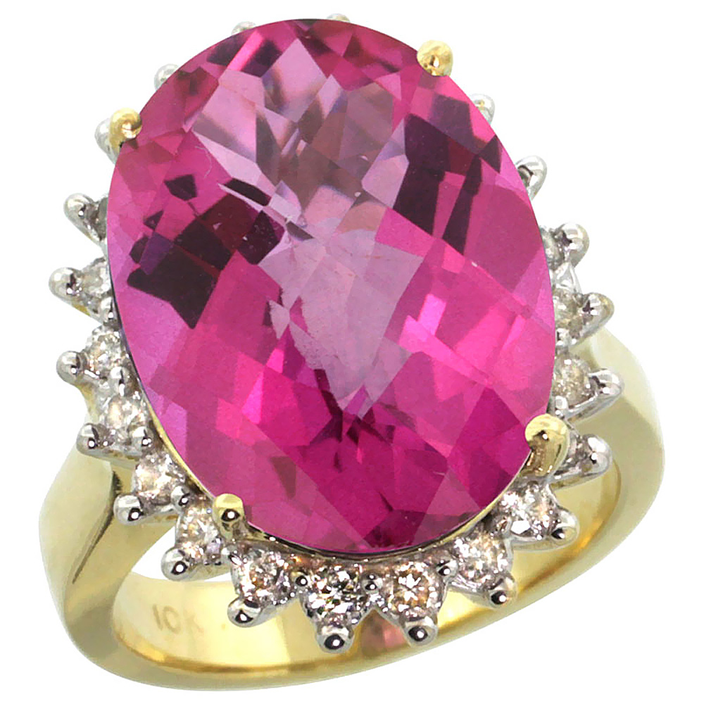 14K Yellow Gold Natural Pink Topaz Ring Large Oval 18x13mm Diamond Halo, size 5.5 by Gabriella Gold