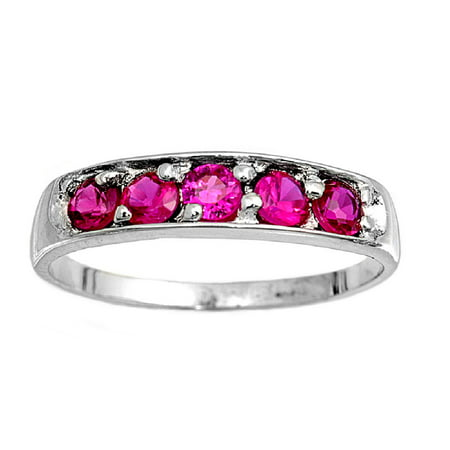 Five Stones Round Center Simulated Ruby Cubic Zirconia Petite Rings Sterling Silver 925
