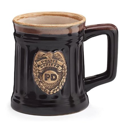 Stein Pimp Cup - Police Officer Porcelain Coffee Mug with Police Department Crest Stein Shaped