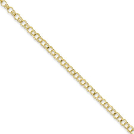 10k Yellow Gold Solid Double Link Charm Bracelet 7 Inch
