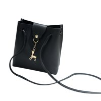 Women Fashion Solid Deer Cover Crossbody Bag Shoulder Bag Phone Coin Bag Black