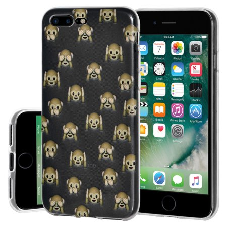 Soft Gel Crystal Clear Transparent Emoji TPU Skin Case Cover for Apple iPhone 7 Plus - See Hear Speak No Evil Monkeys