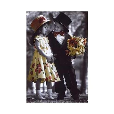Invitation to a Stroll by Kim Anderson 24x36 Art Print Poster Photograph   Cute Kids with Flowers Romantic Romance ()