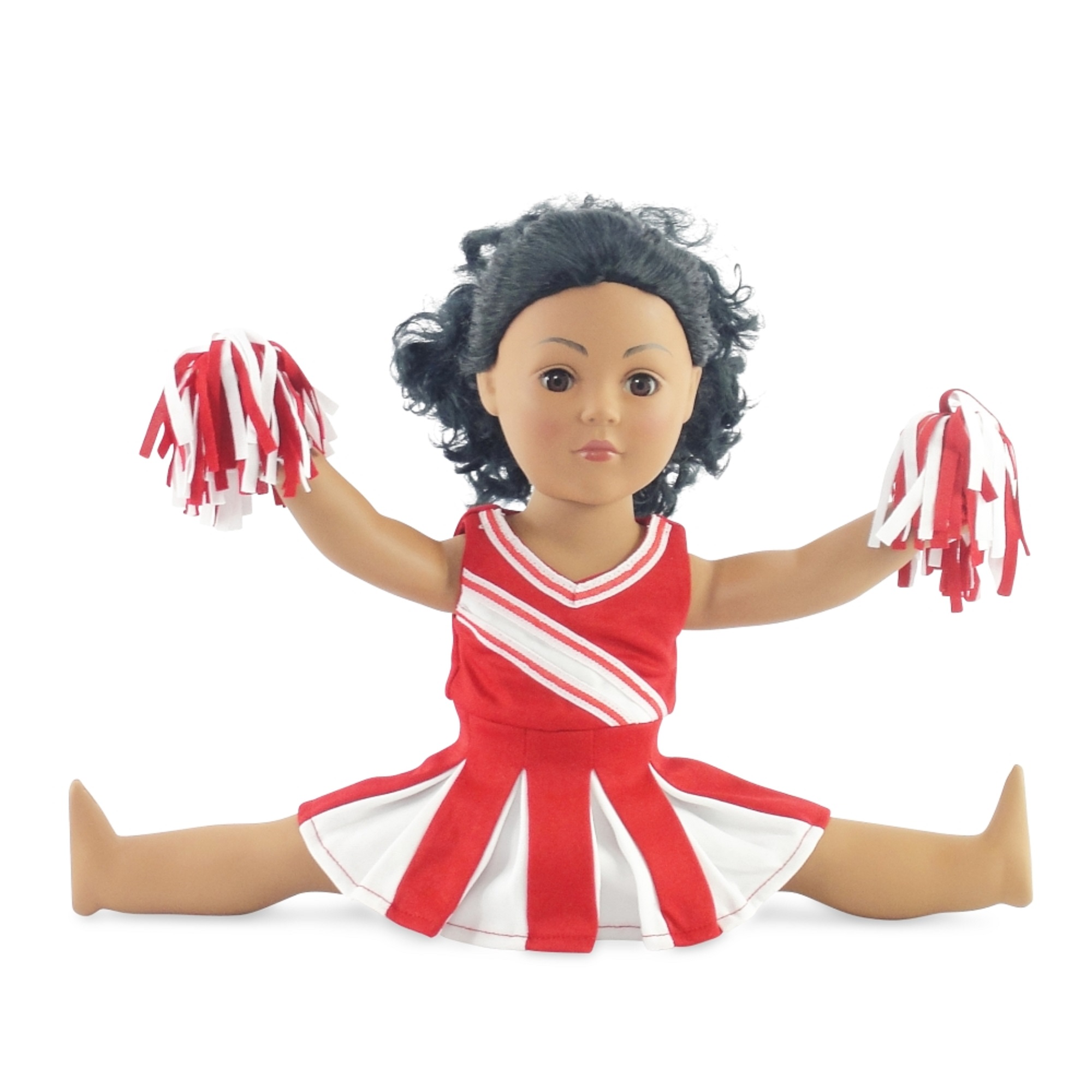 "Doll Clothes Fit American Girl Doll - Red Cheerleader Outfit - 18 Inch Clothing with 18"" Accessories"