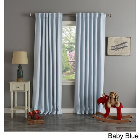 Aurora Home Thermal Rod Pocket 96 Inch Blackout Curtain Panel Pair Baby Blue
