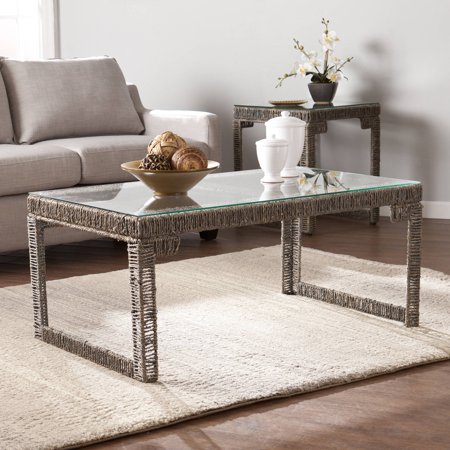 Southern Enterprises Arayes Hyacinth And Glass Coffee Table  Gray