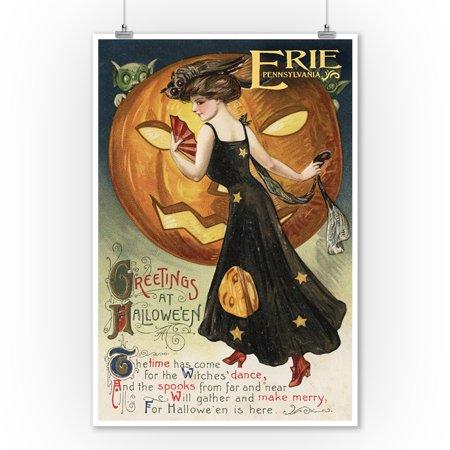 Halloween Pumpkin Artwork (Erie, Pennsylvania - Halloween Greeting - Witch Dancing and Pumpkin - Vintage Artwork (9x12 Art Print, Wall Decor Travel)