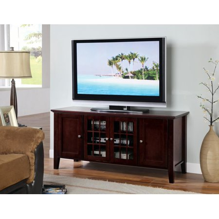Alexandria 54 Dark Cherry Wood Transitional Entertainment Center Media Console Tv Stand With Gl Cabinet Doors Storage Shelves