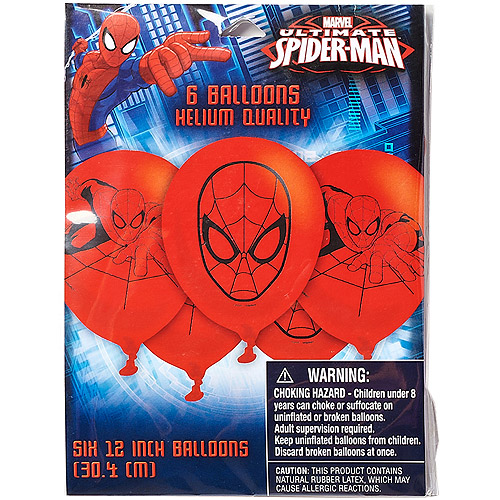 Spider-Man 12 in. Balloons, 6 count, Party Supplies