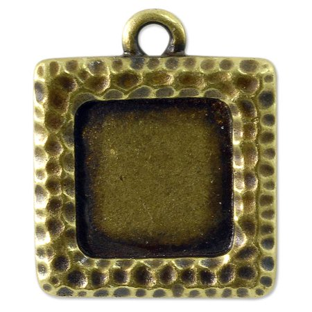 Square Picture Frame 22mm Pewter Antique Brass Plated (Antique Pewter Base)