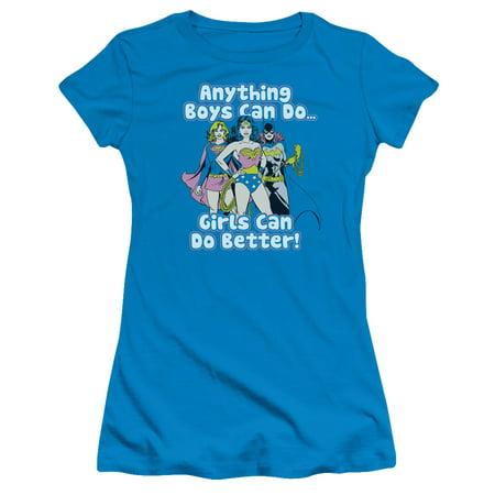 DC Comic Girl Can Do It Better WonderWoman Batgirl Supergirl Junior SheerT-Shirt - Batgirl And Supergirl Costumes