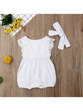 4c63dc398 Product Image Newborn Baby Girl Clothes Ruffle Sleeve Romper Headband  Cotton Linen Outfits Set