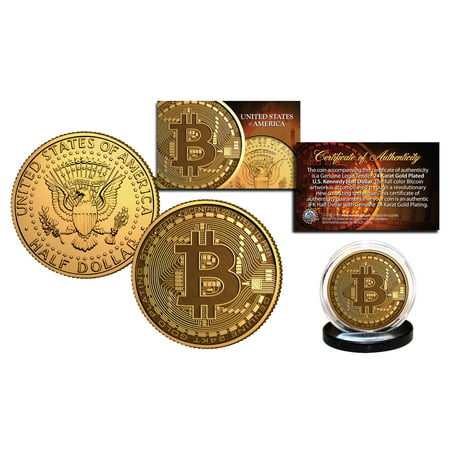 Clad Half Dollars - BITCOIN Physical Commemorative Crypto 24K Gold Clad Kennedy Half Dollar US Coin