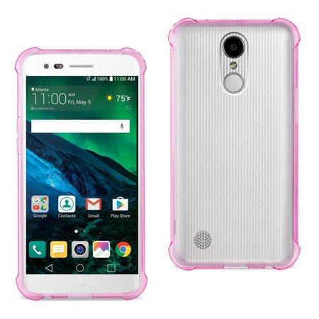 Reiko LG Fortune/ Phoenix 3/ Aristo Clear Bumper Case With Air Cushion Protection In Clear Hot Pink - image 1 of 1