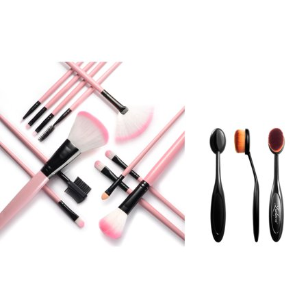 Zodaca 12pcs Cosmetic Makeup Brushes Set Powder Foundation Blending Eyeliner Highlighter Lip Highlighting Contouring Tool with Pink Travel Case Bag + Oval Makeup Brush Small Head