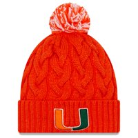 Miami Hurricanes New Era Women's Cozy Cable Cuffed Knit Hat with Pom - Orange - OSFA