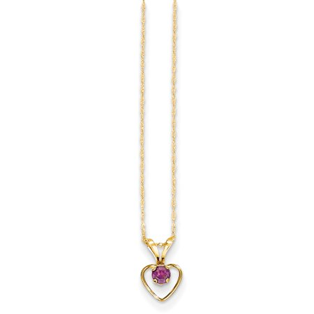 January Birthstone Heart Charm (14k Yellow Gold 3mm Rhodolite Red Garnet Heart Birthstone Chain Necklace Pendant Charm Kid Gifts For Women For)