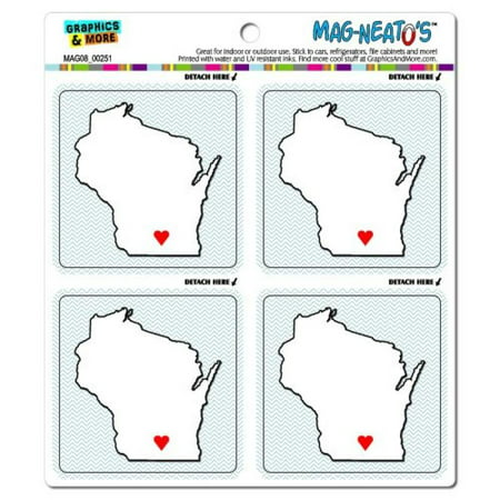 Graphics and More Wisconsin Love Heart State Pride Mag-Neato's Automotive Car Refrigerator Locker Vinyl Magnet - Wisconsin Heart