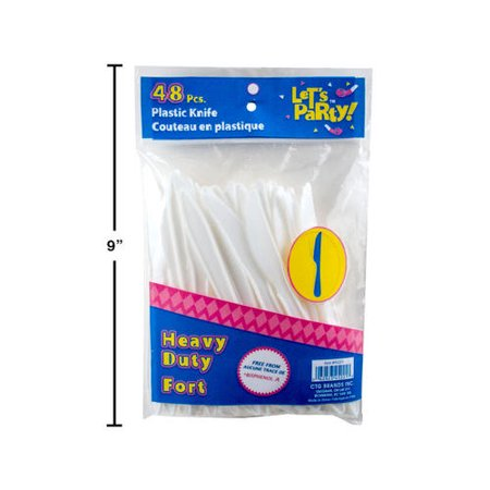 Party Plastic Cutlery Knife Let's Party White 48Pcs - image 1 of 1