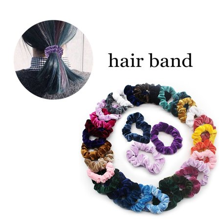 Tuscom 36 Pcs Velvet Elastic Hair Bands Scrunchy For Women Or Girls Hair Accessories(Random Color)