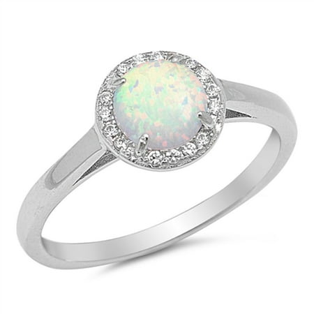 Round White Simulated Opal Surrounded By Small Cubic Zirconia Stones Solitaire Ring Sterling Silver Size 10