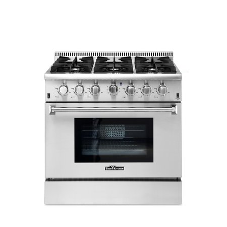 """Thor Kitchen 36"""" Professional Free Standing Convection Gas Range with 6 Burners, Stainless Steel"""