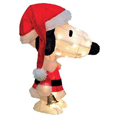 - 18 pre-lit peanuts soft tinsel santa claus snoopy christmas yard art decoration - clear lights