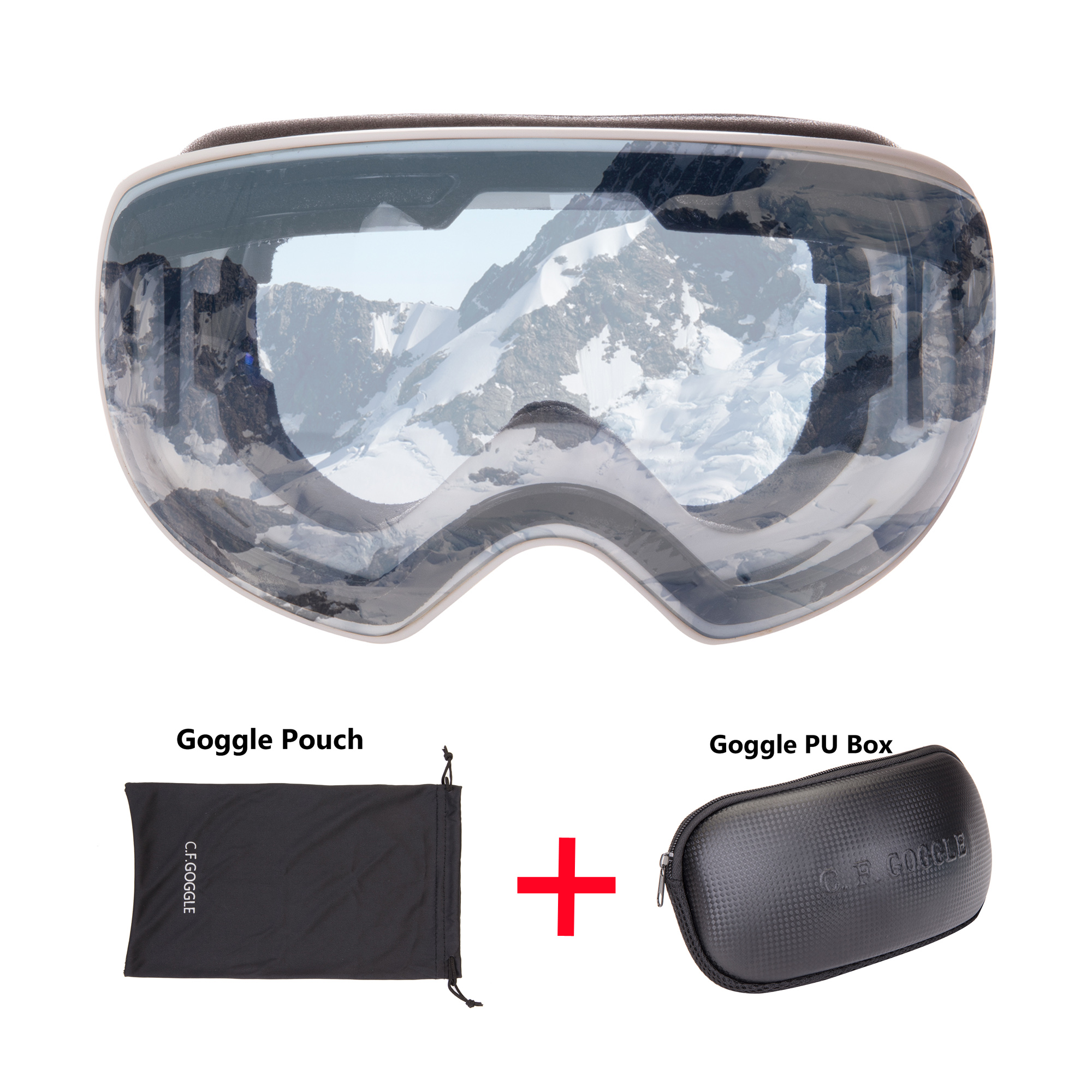 C.F.GOGGLE Skis, Snowboards & Accessories Goggles, for Skiing, Snowboarding, Motorcycling and Winter Sports - Anti-Fog and Helmet Compatible - OTG UV400 Protection - Fits Men, Women and Youth