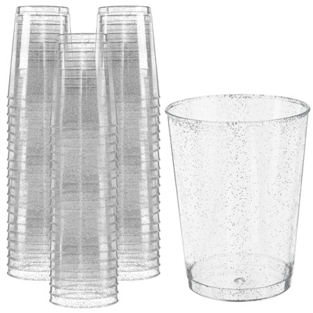 Glitter Disposable Cups | 10 oz. 50 Pack | Clear Plastic Cups | Silver Glitter Plastic Party Cups | Disposable Plastic Wine Glasses for Parties | Plastic Cocktail Glasses | Wedding Holiday Tumblers](Plastic Cocktail Glasses)