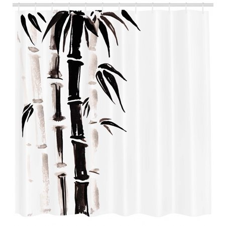 Bamboo Shower Curtain, Bamboo Pattern in Traditional Chinese Watercolor Painting Style Asian Art Print, Fabric Bathroom Set with Hooks, Black Cream, by Ambesonne
