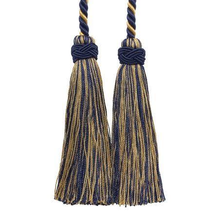 Double Tassel / Gold, Navy Blue / Tassel Tie with 4 inch Tassels, 26