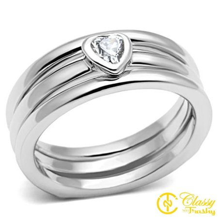 Classy Not Trashy® Size 7 Cubic Zirconia Heart Stone Silver Toned Stack Ring Set, Clear