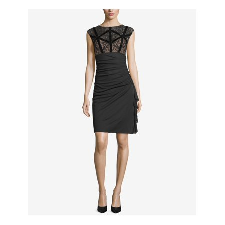 Betsy & Adam Womens Velvet Lace Party Dress Jeweled Party Dress