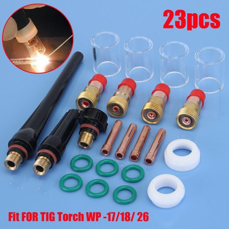 23pcs TIG Welding Torch Collet Gas Lens #10 Pyrex Glass Cup weldingkitset Parts Kit For SP WP-17/18/26