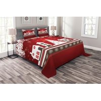 Christmas Bedspread Set, Winter Holidays Theme Gingerbread House with Trees and Snowflakes Artwork Print, Decorative Quilted Coverlet Set with Pillow Shams Included, Red White, by Ambesonne