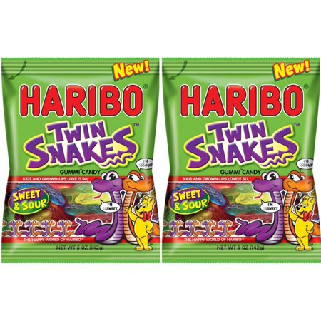 Haribo Twin Snakes Sweet & Sour Gummi Candy - NEW 2016 - 5 oz Bag (Pack of 2) ()