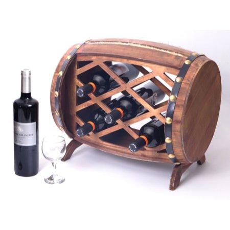 Rustic Wooden Barrel Shaped Wine Rack, 5 Bottle Decorative Wine Holder (Wooden Barrel Wine Rack)